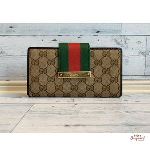 Authentic GUCCI  GG Monogram Web Wallet 181668